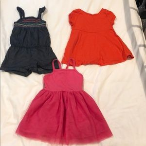 Set of 3 baby/toddler dresses and romper- 12-18m